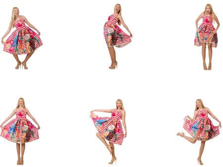 Collage de la femme dans look mode isolé sur blanc Banque d'images - 74383968