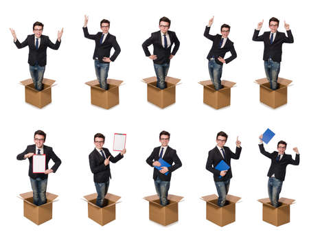 Funny man with boxes isolated on white Фото со стока