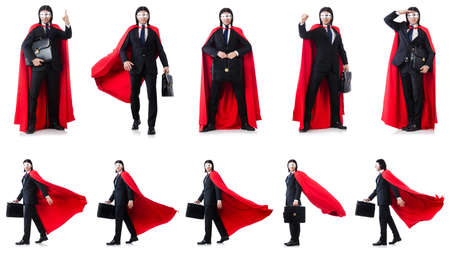 Man in red cover isolated on white Stock Photo