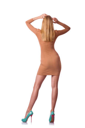 Belle femme modèle isolé sur le fond blanc Banque d'images - 75085285