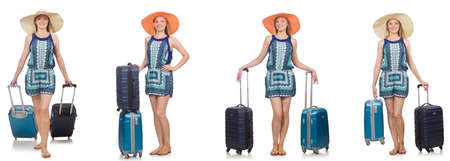 Collage of woman preparing for summer vacation isolated on white Imagens