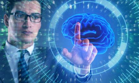 Hombre de negocios en concepto de inteligencia artificial