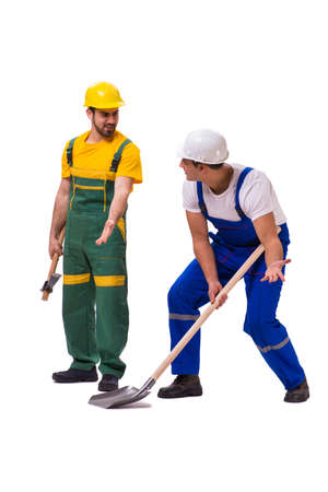 Two workers isolated on the white background Imagens