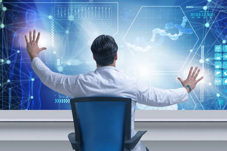 Doctor in telemedicince futuristic medical concept
