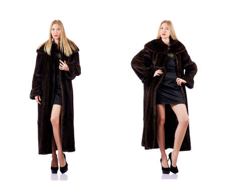 Tall model wearing fur coat Stock Photo