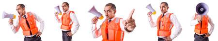 Mann in Rettungsweste isoliert auf weiß Standard-Bild