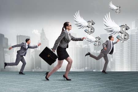 Businesspeople chasing angel investor funding