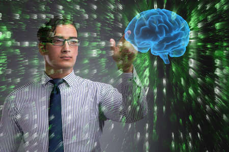 Businessman in artificial intelligence concept Stock Photo