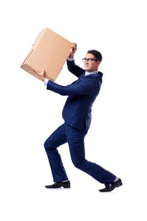 Businessman lifting box isolated on white Reklamní fotografie