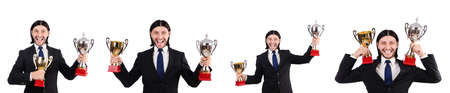 Businessman awarded with prize cup isolated on white