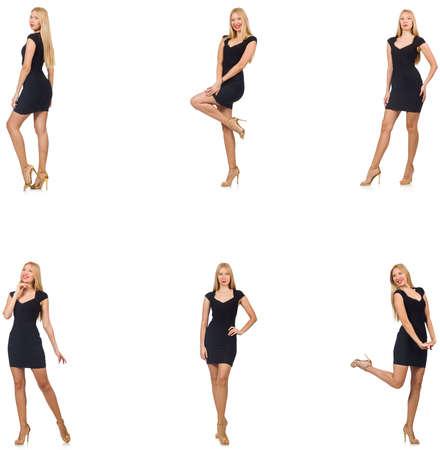Collage de la femme dans look mode isolé sur blanc Banque d'images - 76646037