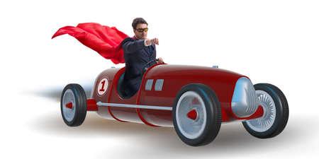ビンテージのロードスターを運転のスーパー ヒーロー実業家