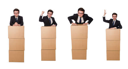 Funny man with boxes isolated on white Reklamní fotografie