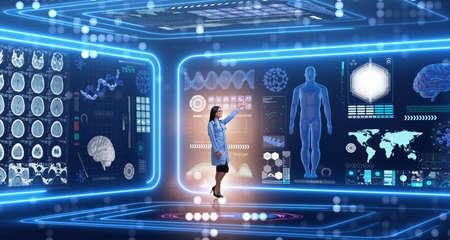 未来の医療コンセプトで女性医師 写真素材
