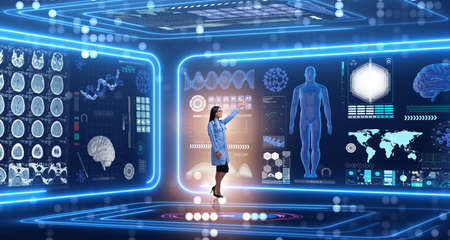 Frau Doktor in futuristischem medizinischem Konzept Standard-Bild - 77163814
