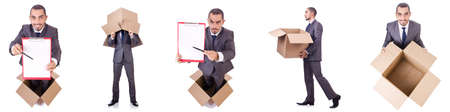 Businessman standing in the box isolated on white Reklamní fotografie