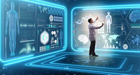 Médico de hombre en concepto médico futurista de medicina Foto de archivo - 77162362