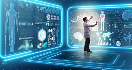 Man doctor in futuristic medicine medical concept Stock Photo