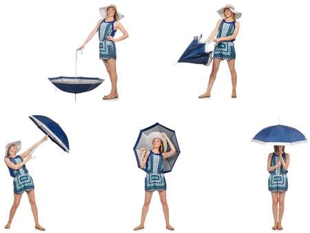 白で隔離の傘を持つ女性のコラージュ