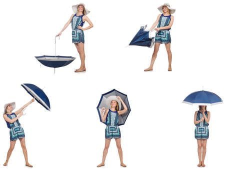 Collage of woman with umbrella isolated on white Stock Photo