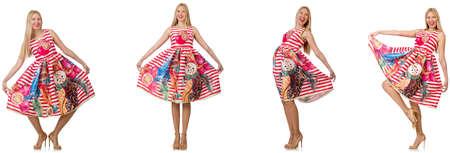 女性のファッションを見て白で隔離のコラージュ 写真素材
