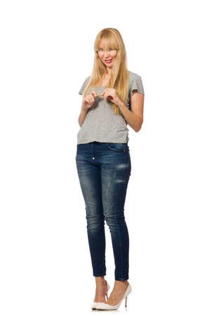 Mooie vrouw model geïsoleerd op de witte achtergrond Stockfoto