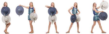 Collage de femme avec chapeau panama isolé sur blanc Banque d'images - 77679812
