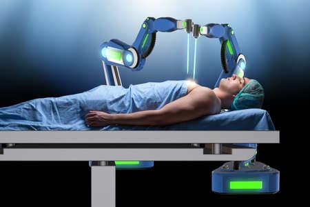 Chirurgie uitgevoerd door robotarm Stockfoto