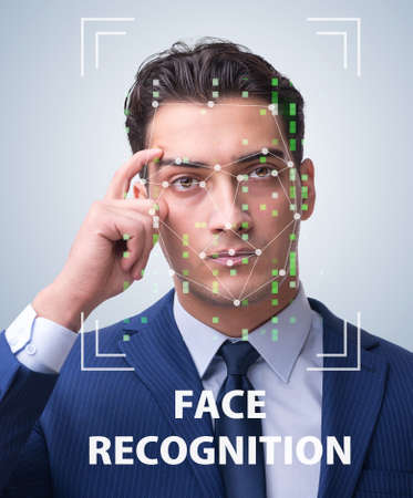 Man in face recognition concept Stock Photo - 77827449