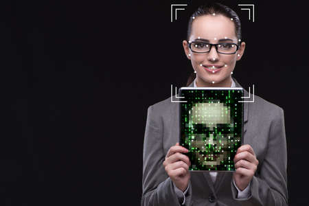 Woman in face recognition concept Imagens - 77702087