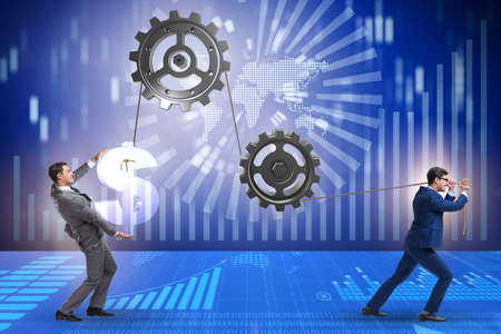 Businessman pulling mechanism and raising dollar