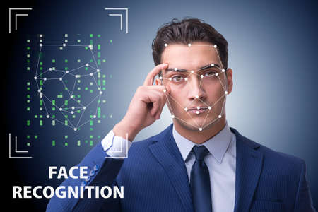 Man in face recognition concept 版權商用圖片