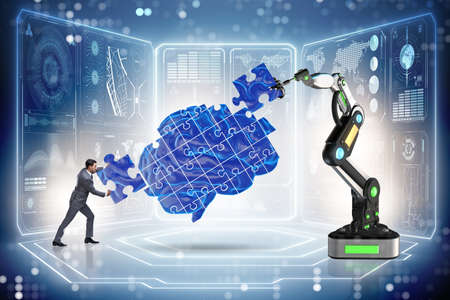 Artificial intelligence concept with businessman