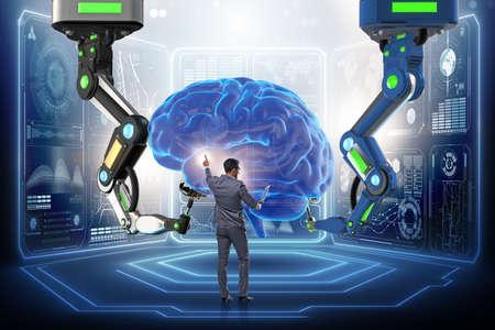 Kunstmatige intelligentieconcept met zakenman Stockfoto