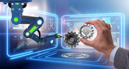 Teamwork-Konzept mit Geschäftsmann und Zahnrädern Standard-Bild - 78171150