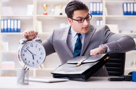 Businessman rushing in the office Stock Photo