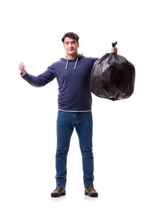 Man with garbage sack isolated on white Stock Photo