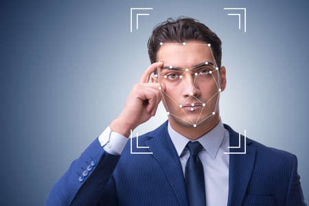 Man in face recognition concept Stock Photo