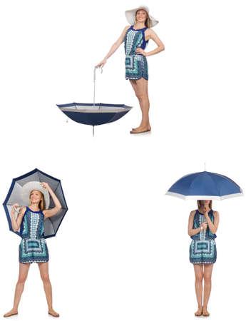 Collage de femme avec un parapluie isolé sur blanc Banque d'images - 78952056