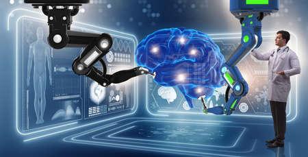 Cirugía de cerebro hecha por el brazo robótico Foto de archivo - 78952286