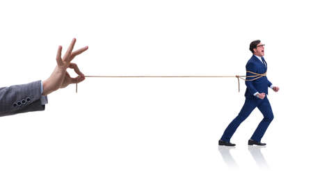 Staff retention concept with employee tied up Foto de archivo