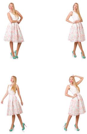 Femme à la mode semble isolé sur blanc Banque d'images - 79190615