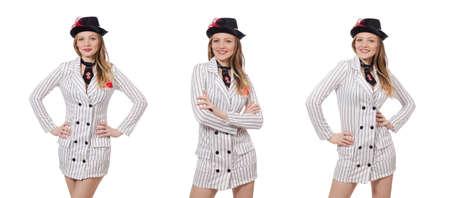 Belle fille en vêtements rayés isolé sur blanc Banque d'images - 79492901