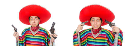 Funny mexican with weapon isolated on white Stock Photo