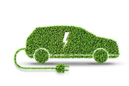 Automobile elettrica verde isolata sul rendering 3D del fondo bianco