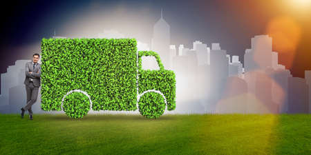 Electric car concept in green environment concept Stock Photo