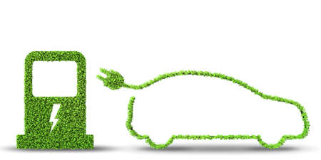 Electric car concept in green environment concept - 3d rendering Stock Photo