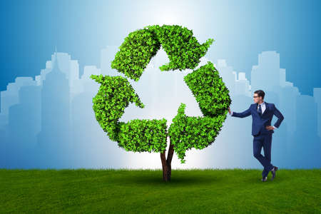 Businessman in recyling sustainable business concept Stock Photo