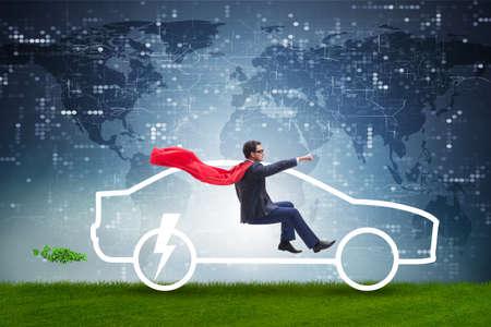 Electric car concept in green environment concept Standard-Bild