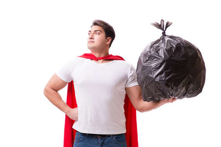 Superhero man with garbage sack isolated on white Imagens - 80042628